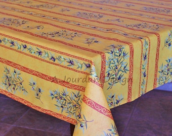 French Provence PETITE OLIVE RUST Rectangle Tablecloths   French Oilcloth  Laminated Indoor Outdoor Tablecloth   Matching