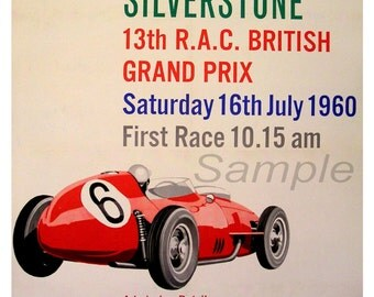 Vintage 1960 British Grand Prix Silverstone Poster Print