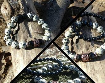 Dalmatian Jasper Unisex Grounding Bracelet Set Reiki Healing Chakra Balancing Gemstones  Men's Semi Precious