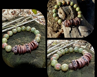 10mm Green Unakite & Copper Bead Heart Opening Bead Bracelet Healing Balancing Gemstones Women's Semi Precious Stones Yoga Jewelry