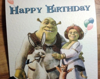 Handmade Shrek Birthday Card - Shrek, Donkey, Fiona, Puss in Boots - Happy Birthday