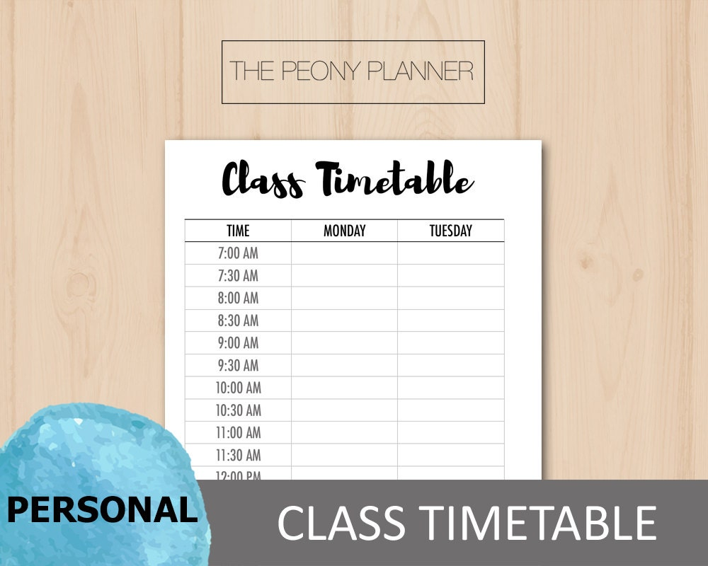 Printable | STUDENT CLASS TIMETABLE Planner Insert | Personal Size ...
