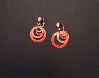 Vintage enameled metal clip earrings