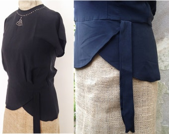 Vintage 1940s blouse Black top with diamante detail, peplum hem and tassel Wm M Perry Design Size XS Small