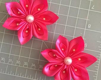 Set of 2.... Hot Pink Kanzashi Flower hair bow
