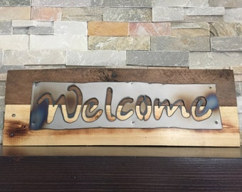 WELCOME Rustic Sign...Wall Art...Reclaimed Wood...Steel Sign...Handmade...Customize Your order