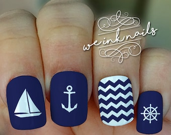 NAUTICAL Blue and Red-Water Slide Decals-Nail Decals-Nail Art-Nail Wrap