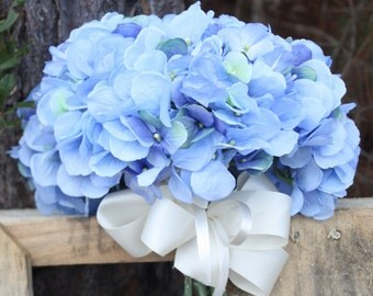 Blue silk hydrangea bridal bouquet.