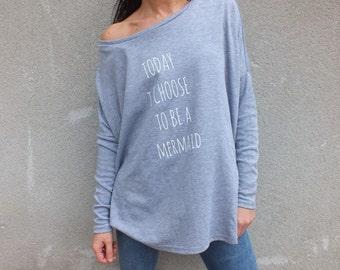 Off The Shoulder Sweater, off shoulder sweatshirt, Graphic Sweathsirt, Mermaid shirt,
