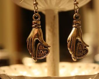 Silver Hands of Love Dangle Earrings