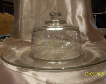 Vintage Princess House Cheese Platter with Dome Heritage Pattern