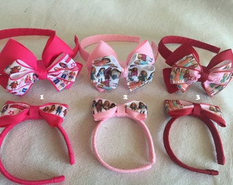 America Girl Doll Headbands; Pink Headbands; Matching Headbands; Party Favors; Girl and Doll; Gifts for Girls