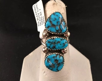Native American Navajo Handmade Sleeping Beauty Turquoise and Sterling Silver Ring Size 7