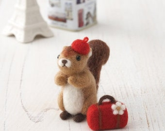Needle Felting Kit  Squirrel  DIY Handcraft Wool Felt Kit