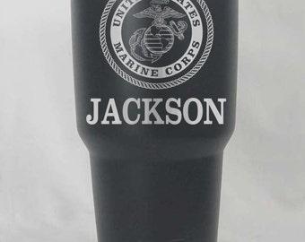 United States Marines Corp 20 or 30 oz yeti RTIC stainless or black matte custom usmc gift