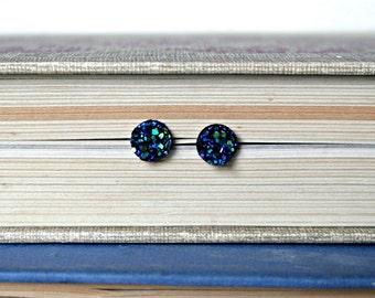 Faux Druzy Earrings, Blue Druzy Earrings, Turquoise Druzy Earrings, Earring Studs, Bridesmaid, Wedding, Graduation, Love, Sale