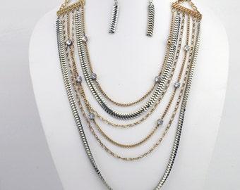 Multi Strand Multi Color Necklace