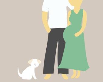 Custom Pregnancy Announcement or Couples Illustration