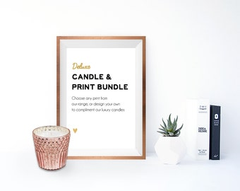 Deluxe Copper Frame, Print and Candle Bundle - Personalised gifts