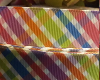 3 yards, 1' grosgrain ribbon colorful stripes