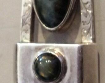 Vintage Sterling Silver Labradorite Pendant One of a Kind