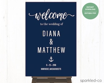 NAUTICAL Wedding Welcome Sign, Wedding Welcome Sign, Navy, Printable Wedding Sign Template, Nautical wedding signs, Nautical