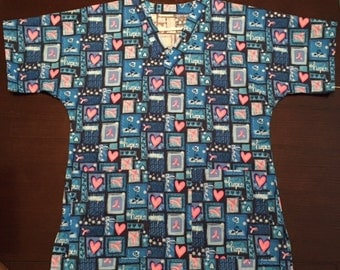 Blue Hope Scrub Top - Size Small