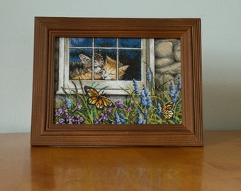 Kittens in the Window Cross Stitch, Garden, Butterflies, Cat