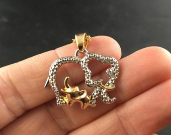 Beautiful Rhinestone Mother and Baby Elephant Pendant in Gold and Silver Tone
