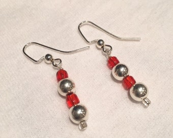 Red Silver Beaded Earrings