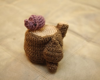 Crochet Toy : Woodland Stump with Rhino-Beetle