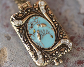 Retro Bird Locket with Glass Beads