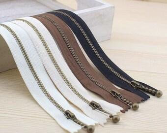 Vintage Brass Metal Bag Purse Zipper with Drop Style Zipper Pull (White, Khaki, Coffee, Black), 5 PCS, 032