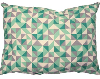 Decorative cushion with triangles printed! Geometric design / / Cushion cover / / geometric cushion / / Turquoise, purple, white