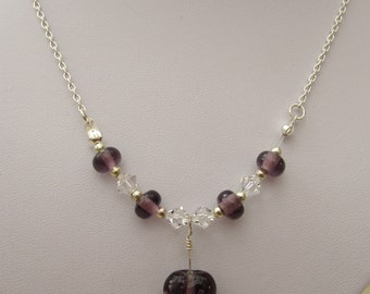 Purple glass heart and Swarovski crystal necklace