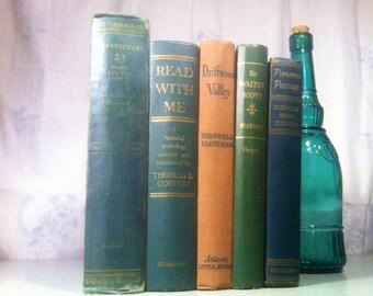Antique Green Instant Library Bundle 5 Decorative Books by Color - Photo Prop, Wedding Decor, Table Centerpiece, Interior Design