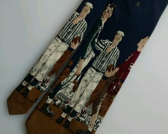 Norman Rockwell Football Coin Toss Tie Novelty Collector 1994