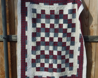 READY TO SHIP Re-purposed Denim and Plaid Throw Quilt