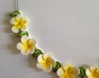 White Plumeria Frangipani Flowers Necklace