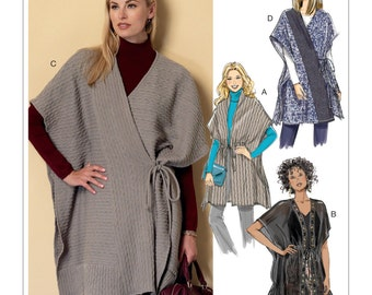 Sewing Pattern for Misses' Banded or Collared Wraps, Butterick Pattern 6392, Cool Weather Wraps, Ponchos, Plus Sizes Available