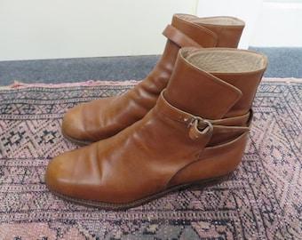 Vintage Women Beige Leather Jodhpur Boots Size UK 4 EU 37