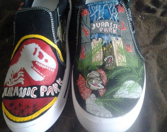 Hand Painted Jurassic Park Shoes