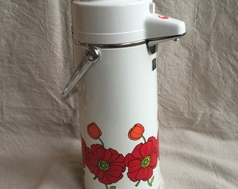Poppies Pump Thermos - Tiger Vacuum Bottle Ind. Co., Ltd. Vintage Retro 1970s Thermos - Poppy Flowers White Red Orange Green Yellow