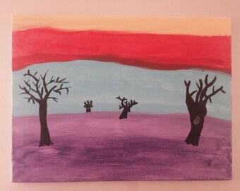 Abstract Acrylic Painting (Rainbow Tree)