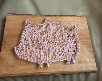 Custom Made-to-Order Pig String Art