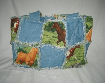 Denim and Horses Rag Quilt Tote