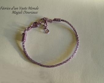End viking bracelet handmade copper violet
