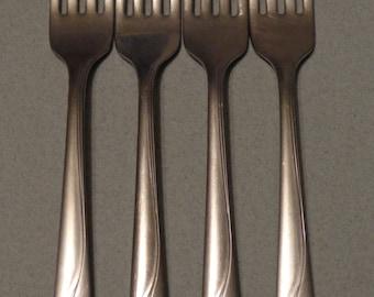 Vintage Oneida Oceanic Stainless Flatware Mixed 4 Dinner Forks