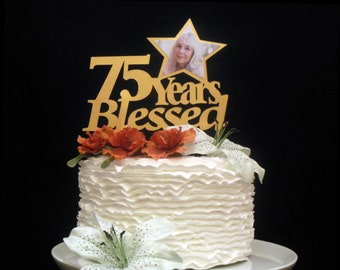 Years Blessed Cake Topper, Photo Topper Birthday, Custom Birthday Topper, Custom Cake Topper Birthday, Star Birthday Topper