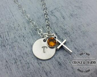 Custom Initial Birthstone Cross Necklace, Cross Necklace, Birthstone, Initial Necklace, Charm Necklace, Sterling Silver, Gift for Women